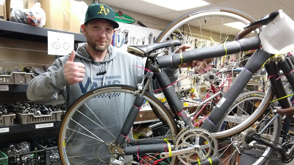 John gives thumbs up to bike wrapped for shipping