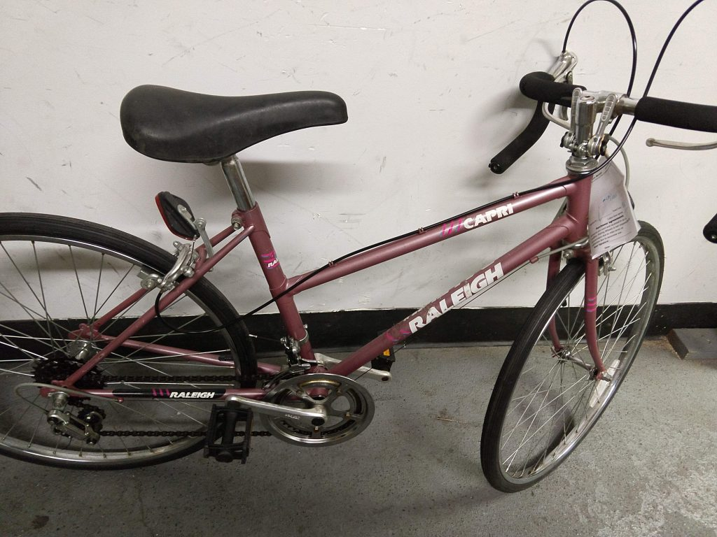 Raleigh Capri mauve stepthrough frame bike
